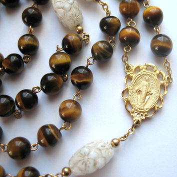 Tiger Eye Rosary, Catholic Rosary, Tiger Eye Beads, Chain Rosary, Miraculous Medal, Catholic Gift, Rosary Beads