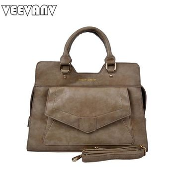 VEEVANV 2017 Khaki PU Leather Women Handbags Fashion Women Messenger Bags Vintage Envelope Briefcase Ladies Handbags Tote Bags