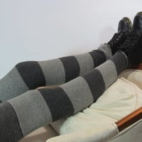 Merino Wool Thigh High Boot Socks Leg Warmers Gray Grey Striped Thermal Knit A1226