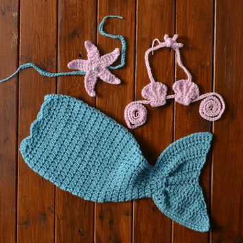 Baby Mermaid Tail Newborn Girl Photo Outfit