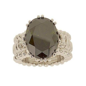 Big Olivine Oval Cubic Zirconia Stretch Ring