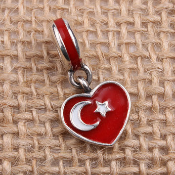Turkey Heart Flag Charms Original 100% Authentic 925 Sterling Silver Thread Beads fit for Pandora Charms bracelets