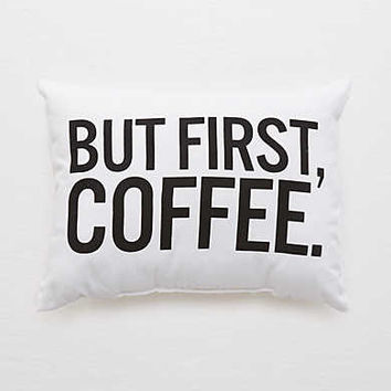 Dormify But First Coffee Pillow, Soft Muslin