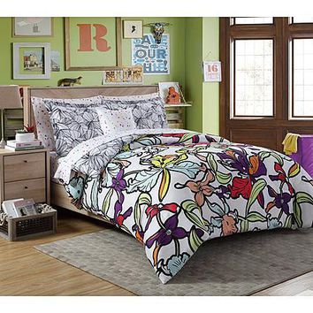 Complete Comforter Bedding Collection Bed Set Bed in a Bag, Iris Floral