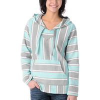 Senor Lopez Retro Mint, Grey & Peach Girls Baja Poncho
