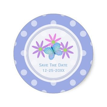 Purple Butterfly and Daisy Save The Date Stickers