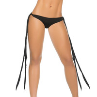 Side Tie Scrunch Bottoms Black