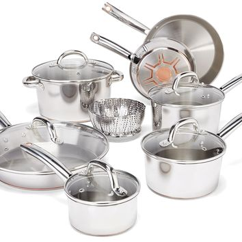 T-fal C836SD Ultimate Stainless Steel Copper-Bottom Heavy Gauge Multi-Layer Base Cookware Set 13-Piece Silver