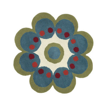 Dynamic Rugs Fantasia Turquoise Flower Area Rug You'll Love | Wayfair