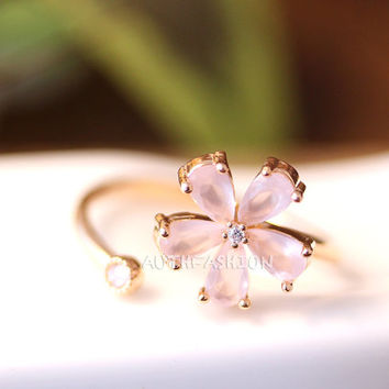 Light Pink Stone Flower Ring Adjustable Open ring Pink Gold tone Plated Jewelry gift idea