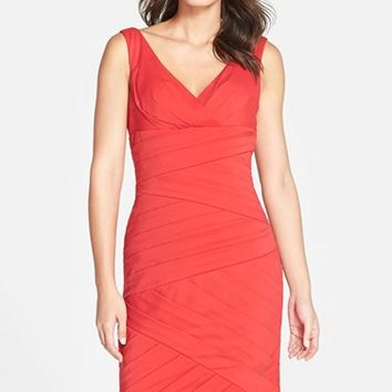 Women's JS Collections Pleated V-Neck Sheath Dress,