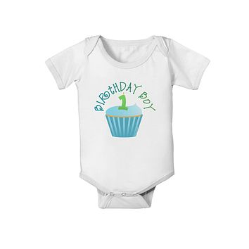 Cute First Birthday Cupcake - Birthday Boy Baby Romper Bodysuit by TooLoud