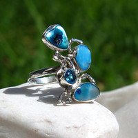 """Exotic Sterling Silver Ring   """"Azul Profundo""""   Turquoise   Zirconia   Natural Sea Shells   Handcrafted   Mexico   Silver 925   Unique Item"""