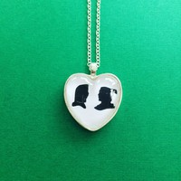 Mulan & Shang Silhouette Heart Necklace Disney Inspired Handmade from SHOW PONY
