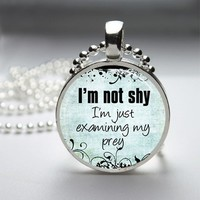 I'm Not Shy Funny Glass Tile Round Bezel Pendant Necklace