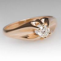 Vintage Claw Mounting 14K Yellow Gold Diamond Ring