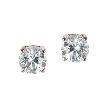 CZ by Kenneth Jay Lane - Classic Rose Gold Plated Pierced Stud Earring