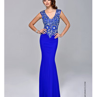Nina Canacci 8042 Royal Blue Beaded Applique Gown 2015 Prom Dresses