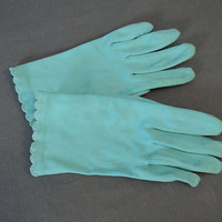 50s Aqua Cotton Gloves, size 6-1/2 Vintage 1950s Light Turquoise Dress Gloves
