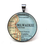 Vintage Map Pendant of Milwaukee Wisconsin in by CarpeDiemHandmade