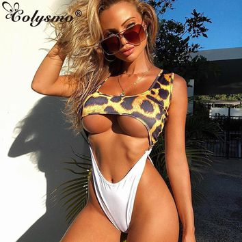 Colysmo Sexy Bodysuit Women Beachwear Square Collar High Cut Leopard Monokini Push Up Backless One Piece Biquini Bathers Rompers