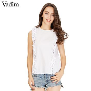 Women sweet ruffles beading crop top sexy sleeveless shirt o-neck white blouse ladies summer brand casual tops blush
