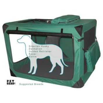 Pet Gear Moss Green Large Deluxe Soft Dog Crate