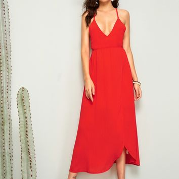 Plunge Neck Lace Up Tie Back Asymmetrical Halter Dress