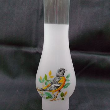 Frosted Glass Oil Lamp Chimney Shade with Baltimore Oriole Decal