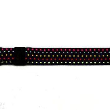 Stretch for Pop Swatch Black Rainbow Polka Dots Watch Band Strap