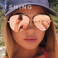 TSHING Women Rose Gold Oversized Mirror Aviation Sunglasses Men Brand Designer Vintage Retro Sun Glasses For Male Female Driving
