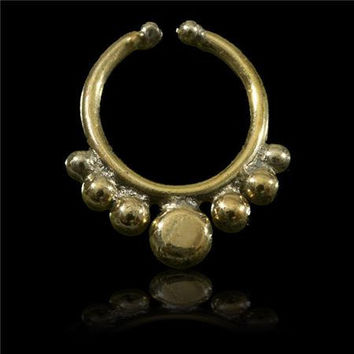 Beautiful And Delicate Brass Septum For Non Pierced Nose - Body jewelry - Tribal Jewelry - Indian Jewelry - Ethnic Jewelry