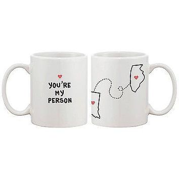 Personalized Long Distance Relationship Mugs for Couples Friends Family (MC035)