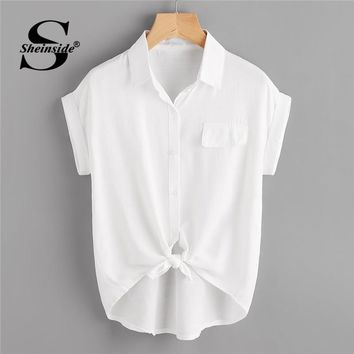 Sheinside Rolled Cuff Knotted Hem Shirt Summer Short Sleeve Button Casual Blouse Women White Office Ladies Top