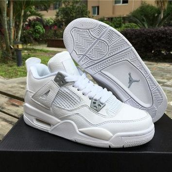 NIKE AIR JORDAN 4 Pure Money GS Unisex Leather Basketball Shoe