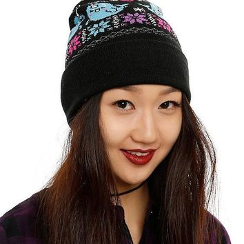 Licensed cool Narwhal Whale Fair Isle Embroidered Knit Fold Over Pom Pom Beanie Hat Cap NEW