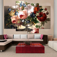 No Frame 4 Panel Flower Canvas Painting HD Oil Picture Poster Modern Home Wall Decor Canvas Print Wall Pictures for Living Room