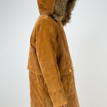 Suede Parka with Fur Trim