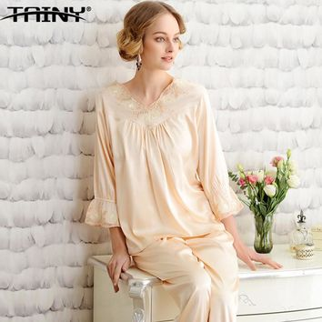 TAINY 2017 New V-neck Autumn Summer Full Length Silk Suit Female Sexy Lace Tracksuit Women Home Wear Pajama Trousers Sets