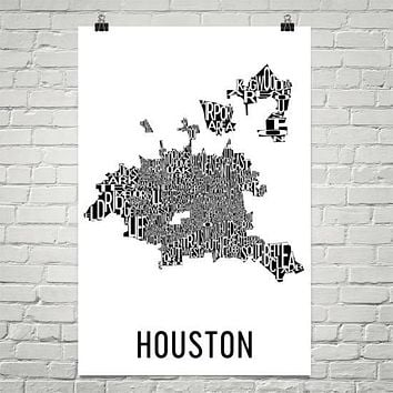 Houston Neighborhood Typography Prints – Modern Map Art