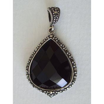 Black Onyx Cushion Faceted Teardrop with Marcasite Pendant