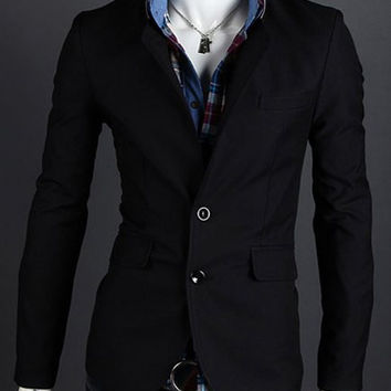 Color Block Lapel Long Sleeves Blazer