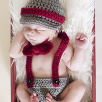 Little Mister Man Newborn Baby Boy hat suspenders diaper cover  photo prop