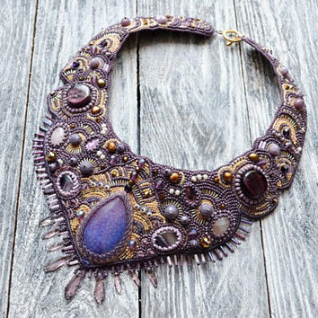 Bib necklace Statement Bead embroidered necklace Unique necklace Beaded purple necklace Modern necklace Women Gemstone necklace Wearable art