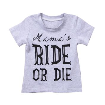 Toddler Baby Girl Boys Ride Print Tops Kids Short Sleeve Cotton T-shirts Tops Blouse Summer Clothes