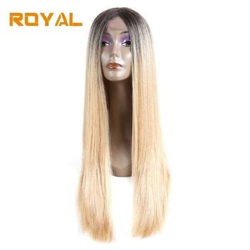 CREYG8W Royal #613 Blonde Two Tone Ombre Brazilian Human Hair Wigs Long Straight Hair Wig Wth Middle Part 22Inch Non-Remy Hair