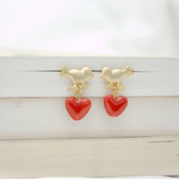 Lovebirds, Gold Filled Bird Post Earrings with Red Porcelein Heart