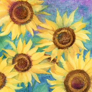 Sunflowers and Purple Flag Canvas House Size IBD0247CHF