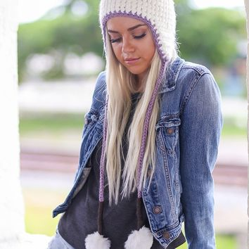 Snow White Pom Pom Ear Flap Beanie