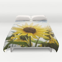 Summer Sunflower Sky Duvet Cover by RichCaspian | Society6